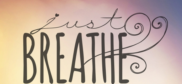 Inspirational Typographic Quote - Just Breathe